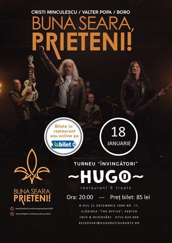 18 ianuarie, Cristi Minculescu, Valter Popa și Boro invita publicul clujean in Hugo – The Office.